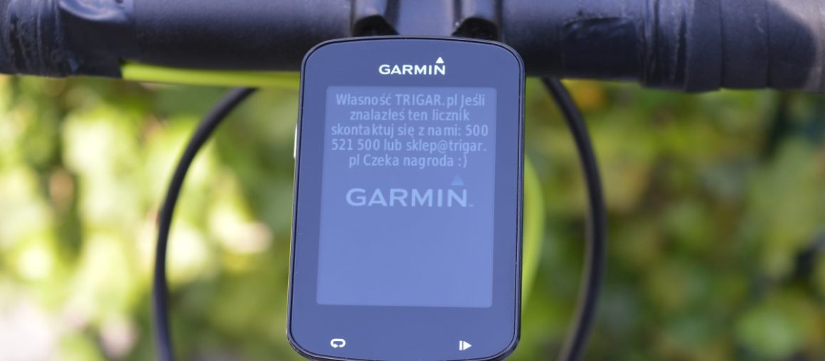 Ustawianie wiadomości startowej w liczniku Garmin Edge